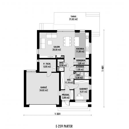 Dom z garażem i dwuspadowym dachem - rzut