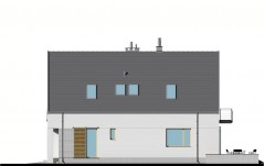 Dom z garażem i dwuspadowym dachem - elewacja